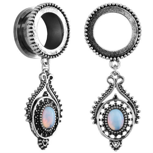 Antiqued Beaded Stainless Steel Opal dangle screw back ear plugs