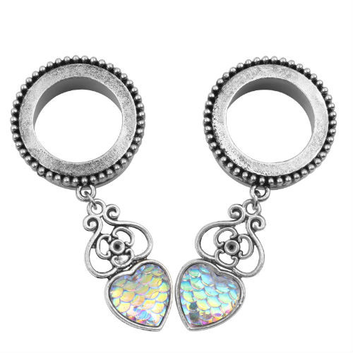 Rainbow Mermaid skin heart stainless steel dangle screw back ear plugs