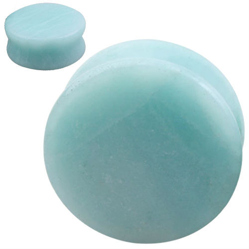 Solid round Organic  Amazonite Natural  Stone Ear Gauges plugs