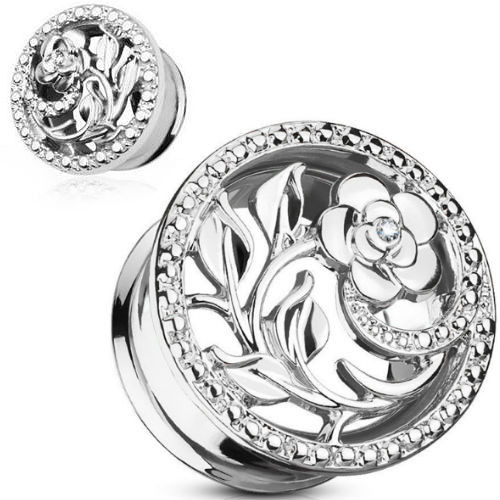 Stainless Steel Rose Vine With CZ gems Double saddle ear plugs