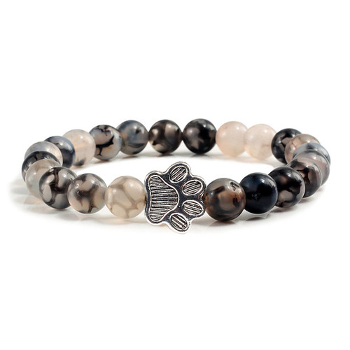 Silver Paw with Black and white dragon agate stone bracelet