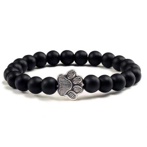Silver Paw with 8mm Matt black agate stone bracelet