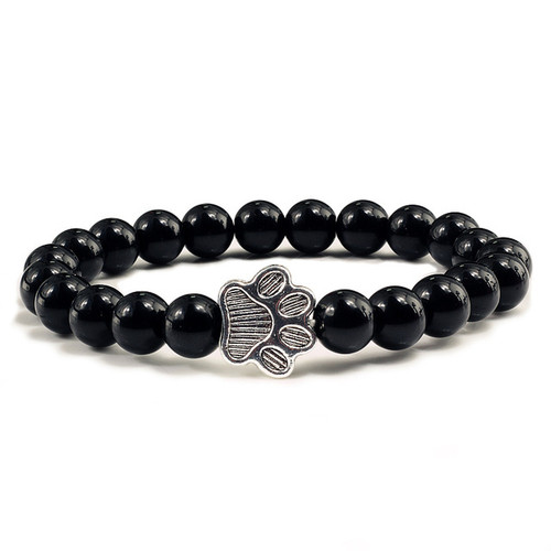 Silver Paw with 8mm Matt black agate stone bracelet