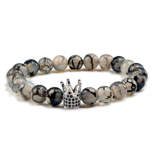 Silver Crown Black Cubic Zirconias with 8mm Black and white dragon agate stone bracelet