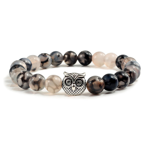 Silver Owl with 8mm Black and white dragon agate stone bracelet