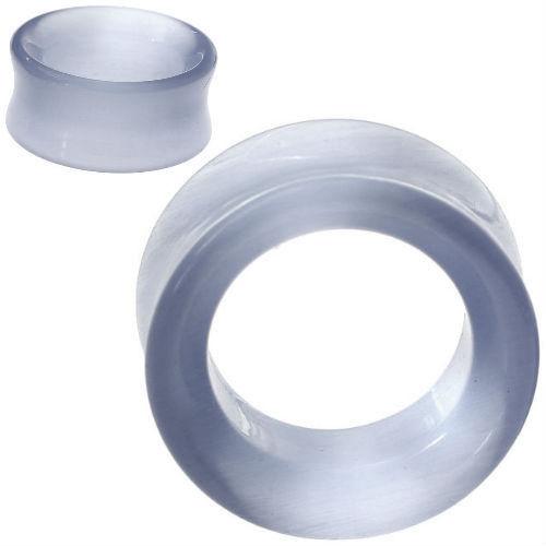 Silver Grey Cats eye Hollow Tunnel Organic Stone Ear Gauges