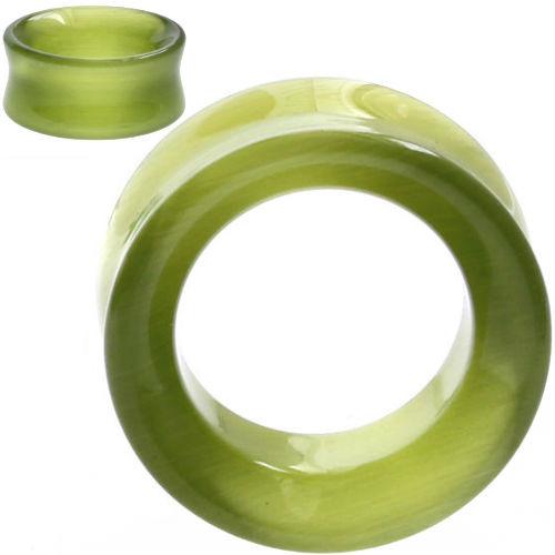 Sea Green Cats eye Hollow Tunnel Organic Stone Ear Gauges
