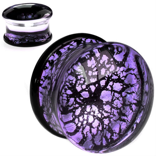 Lavender Reflective Foiled Glass  Double Flare Plugs