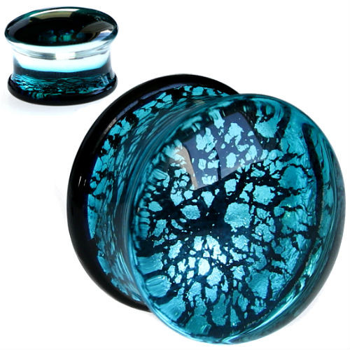 Aqua blue Reflective Foiled Glass  Double Flare Plugs
