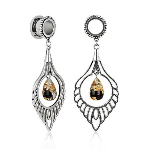 Stainless steel gold black resin dangle Athena