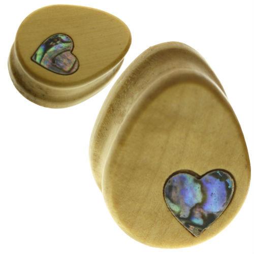 Teardrop Blonde wood with abalone heart organic ear plugs