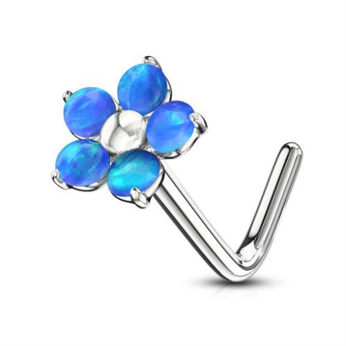 Five Blue Opal Petal flower  316L Surgical Steel L bend Nose Stud Ring