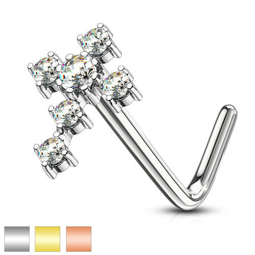 L Bend Nose Stud Rings CZ Cross 316L Surgical Steel L Bend Nose Stud Rings 20g