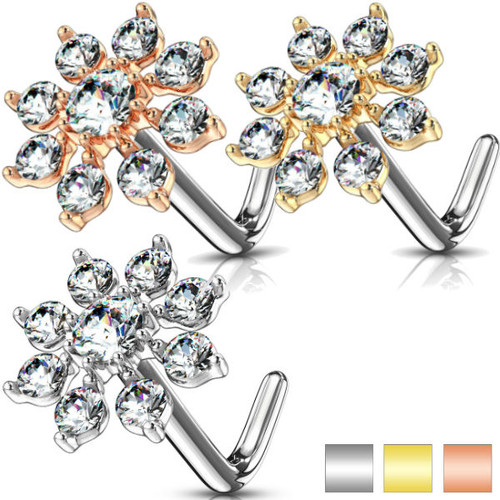 L Bend Nose Stud Rings Double Tiered CZ Starburst Top 316L Surgical Steel 20g