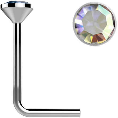 .925 Sterling Silver Aurora Borealis gem crystal Surgical Steel L bend Nose Stud Ring 22 gauge