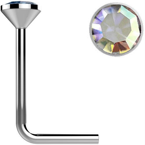 .925 Sterling Silver Aurora Borealis gem crystal Surgical Steel L bend Nose Stud Ring 22 gauge