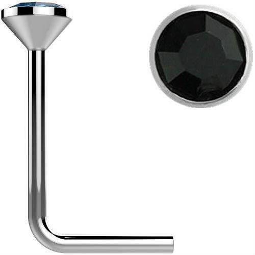 .925 Sterling Silver Black gem crystal L bend Nose Stud Ring 22 gauge