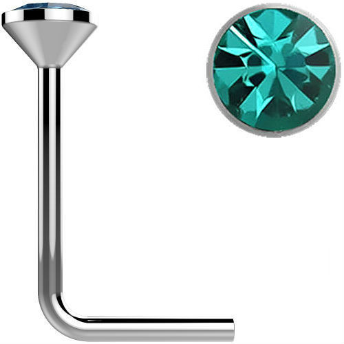 .925 Sterling Silver Aqua gem crystal Surgical Steel L bend Nose Stud Ring 22 gauge