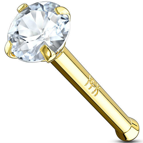 14 Karat Solid Yellow Gold Prong Set CZ Nose Bone Stud Ring 20 gauge
