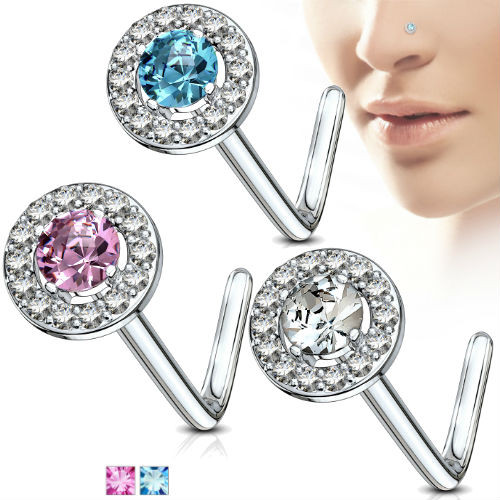 Round CZ Double Tiered Center Top 316L Surgical Steel L Bend Nose Stud Rings