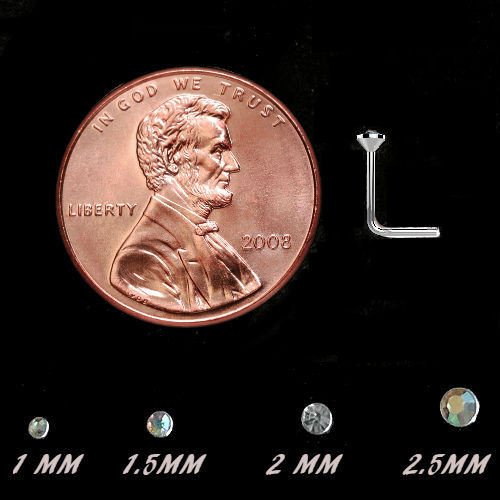 .925 Sterling Silver Aurora Borealis gem crystal  L bend Nose Stud Ring 22 gauge shown for size next penny