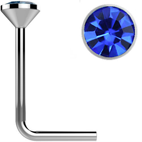 .925 Sterling Silver Dark Blue gem crystal Surgical Steel L bend Nose Stud Ring 22 gauge