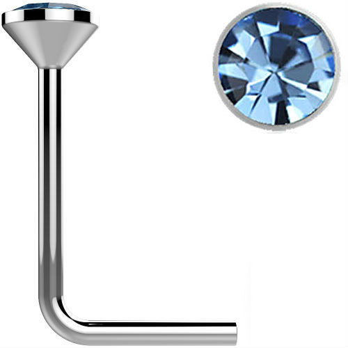 .925 Sterling Silver Light Blue gem crystal Surgical Steel L bend Nose Stud Ring 22 gauge