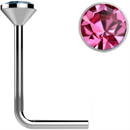 .925 Sterling Silver Pink gem crystal  L bend Nose Stud Ring 22 gauge