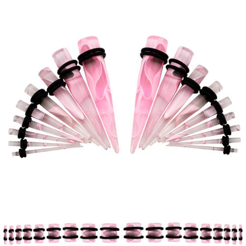 36 Piece Acrylic Pink Marble Ear Stretching Kit Gauging tapers and plugs