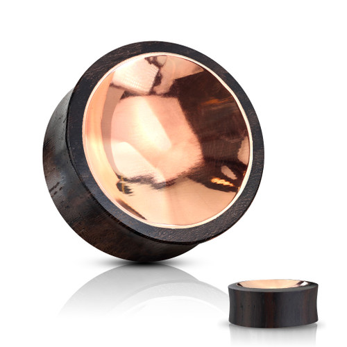 Organic Sono Wood Saddle Plug with Concaved Copper Tin Center on Both Sides