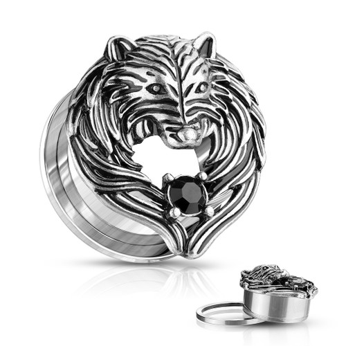 Antique Silver Plated Black CZ Set Wolf  Front 316L Surgical Steel Screw Fit Flesh Tunnel Plugs