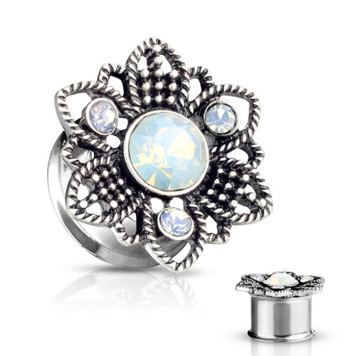 Tripled Gem Opalite Stone Set Flower Front 316L Surgical Steel Double Flared Tunnels