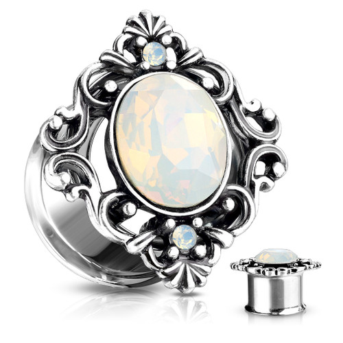 Filigree Oval white opal 316L Surgical Steel Double Flared Tunnels