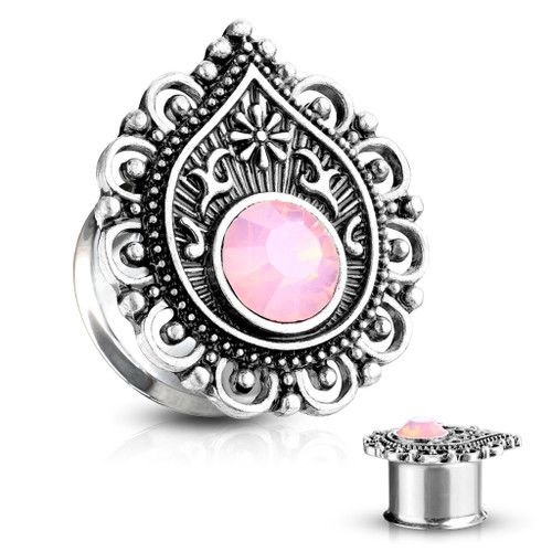 Pink Opalite Stone Centered Tear Drop Filigree Front 316L Surgical Steel Double Flared Tunnels