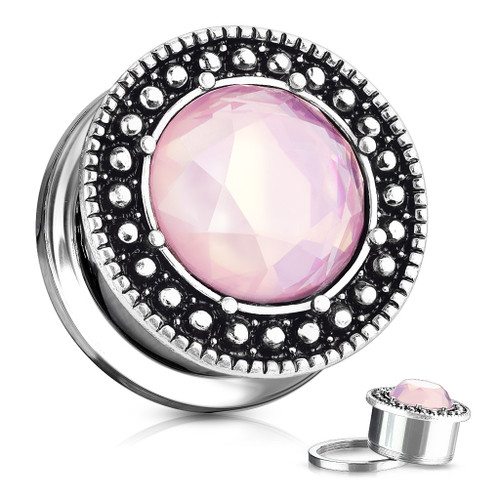 Round Pink Opalite Centered Shield Front 316L Surgical Steel Screw Fit Flesh Tunnel Plugs