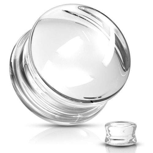 Clear Pyrex Glass Double Flare Plugs