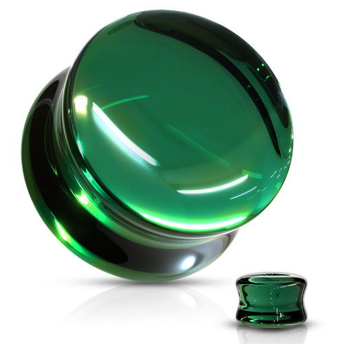 Green Glass Double Flare Plugs