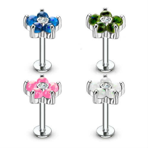Labret Monroe lip stud Piercing 16g Opal Flower Petals CZ Center 316L Surgical Steel