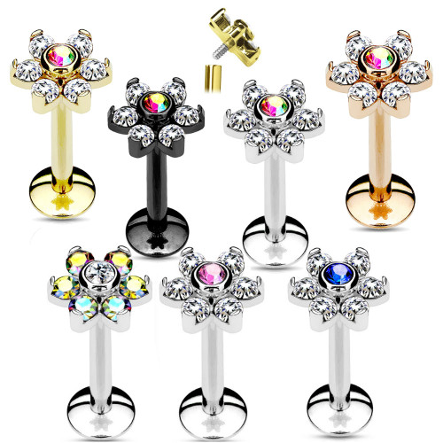 Labret Monroe lip stud Piercing 16g Internally threaded CZ flower 316L Surgical Steel