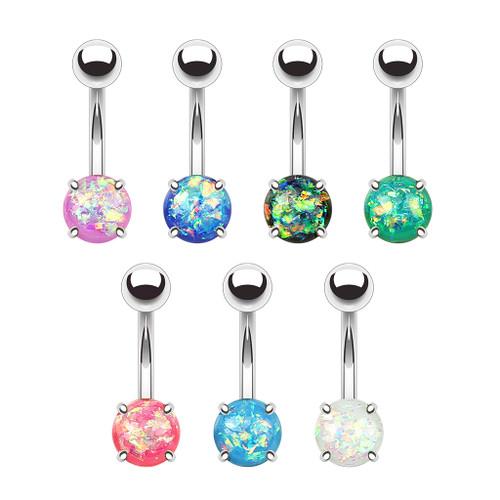 14 gauge Prong Set Opal Glitter Set 316L Surgical Steel Belly Button Rings