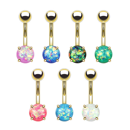 14 gauge Gold Prong Set Opal Glitter Set 316L Surgical Steel Belly Button Rings