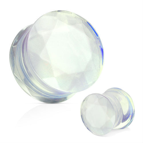 Faceted face Double saddle Opalite Stone Ear Plugs