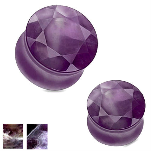 Faceted face Purple Amethyst  Double saddle Stone Ear Plugs