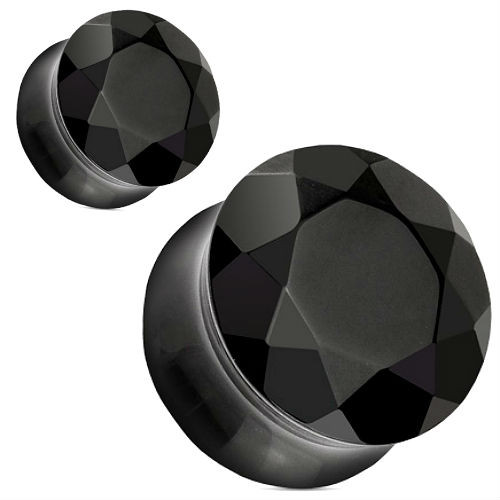 Faceted face Black Agate Double saddle Stone Ear Plugs