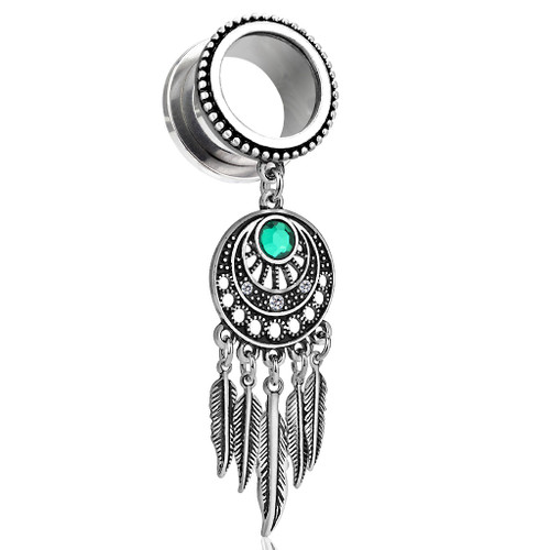 Dream Catcher Dangle Burnished Silver Plated Beaded Edge Top 316L Surgical Steel Screw Fit Flesh Tunnels