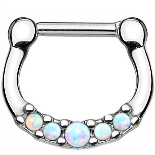 Five white Opal Set Center 100% Surgical Steel Septum Clicker