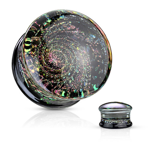 Multi Color Sparkle Galaxy Double Flared Glass Plugs