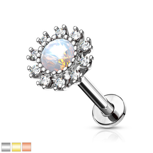 Opalite Center Labret Monroe lip stud Piercing 16g Internally threaded CZ flower 316L Surgical Steel