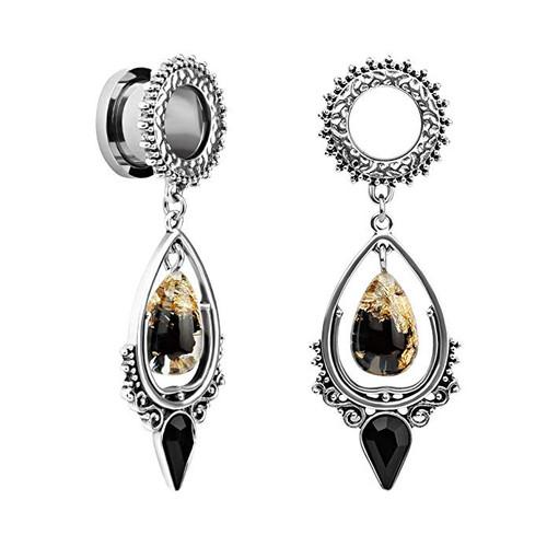 Egyptian goddess Stainless steel gold black resin dangle black gem