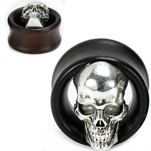 Ebony Wood Tunnels With steel skull ear plugs